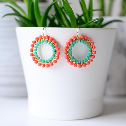 Coral & Turquoise Double Beaded Round Earrings
