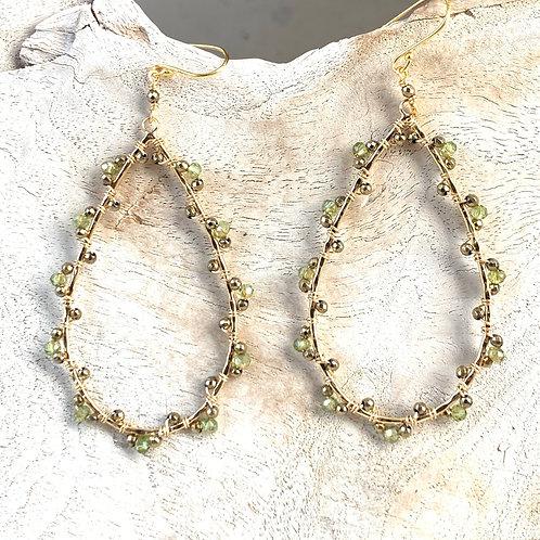 Peridot & Pyrite Wrapped Teardrop Earrings