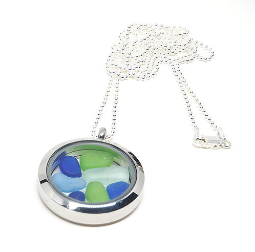 Green, Cobalt and Sea Foam Locket Necklace