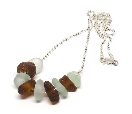 Sea Foam and Amber Sea Glass Necklace