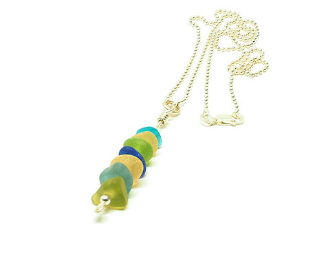 Multi-Colored Stacked Sea Glass Necklace