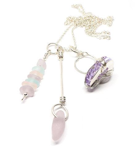Pastel Sea Glass and Swarovski Necklace