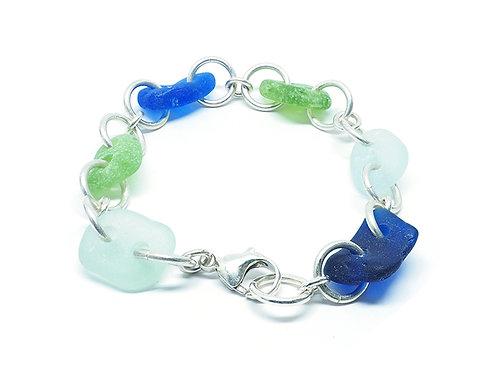 Cobalt Green and Sea Foam Link Bracelet