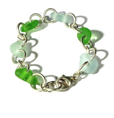 Green and Sea foam beach glass link bracelet
