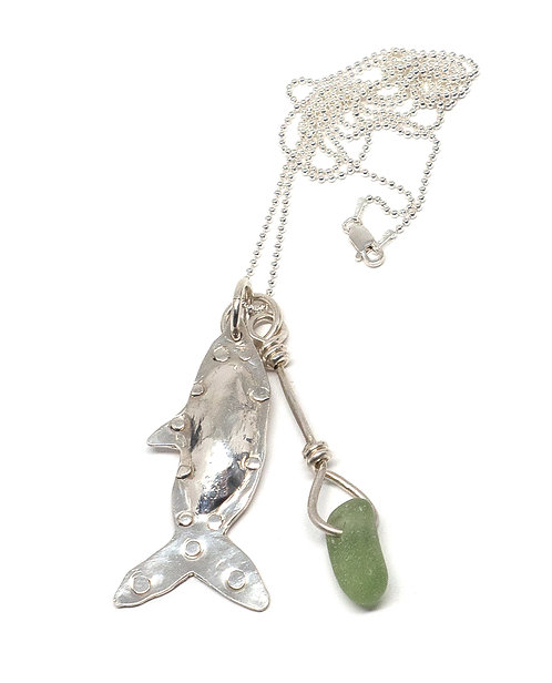 Khaki And Sterling Fish Pendant Necklace