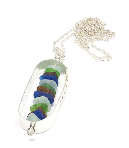 Silver Oval Stacked Glass Necklace