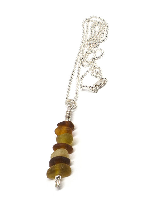 Shades of Amber Stacked Sea Glass Necklace