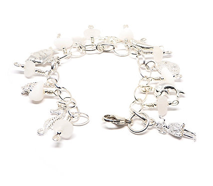 Milk Glass and Frosted Clear Glass plus Charm Bracelet.