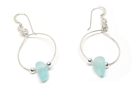 Bright Aqua Small Hoop Earrings