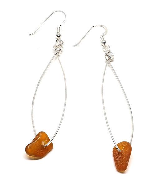 Amber Fish Shaped Earrings