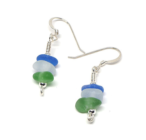 Cobalt, Frosted Clear and Green stacked glass earrings