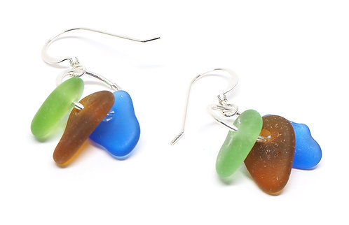 Green Amber and Cobalt Earrings