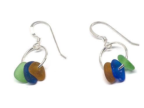Green Cobalt and Brown Earrings