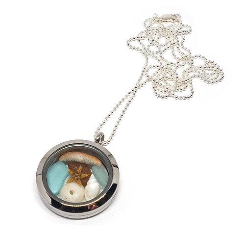 Shells, starfish and sea foam locket necklace