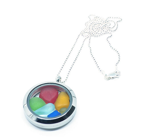 Two-toned Red and mixed colors locket necklace