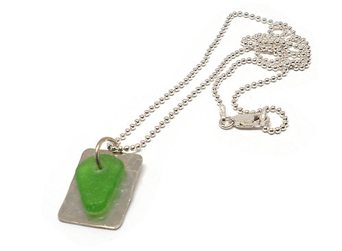 Green Dog Tag Necklace