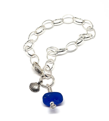 Cobalt Sea Glass and Sterling Shell Charm Bracelet
