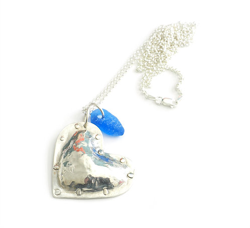Puffy Heart Necklace with Light Cobalt Pendant