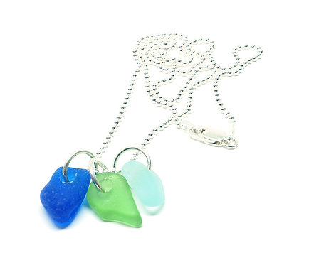 Cobalt Green and Sea Foam Pendant Necklace