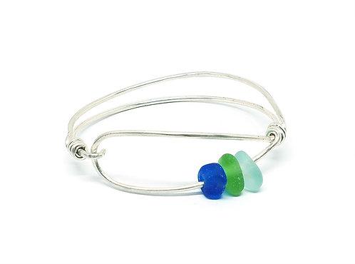 Cobalt, Green and Sea Foam Sea Glass Bracelet