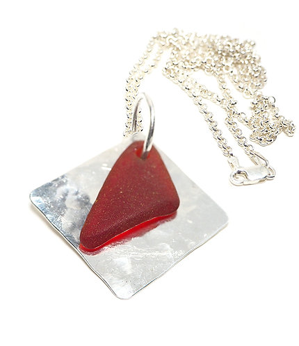 Rare Red Beach glass Pendant on a Silver Square necklace
