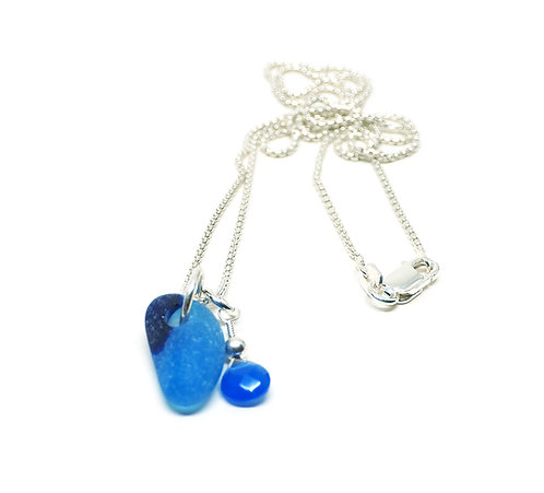 Cobalt Flash Glass and semi precious stone necklace