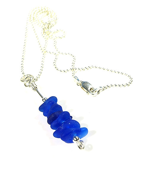 Cobalt stacked beach glass necklace