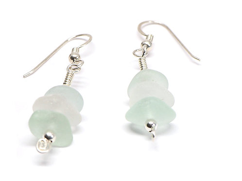 Sea Foam and Clear Beach Glass Stacked Earring