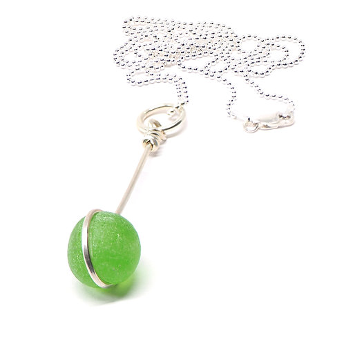 Lime Green Marble Necklace
