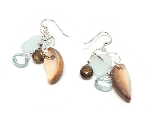 Sea Foam Smokey Topaz and Shell Earrings