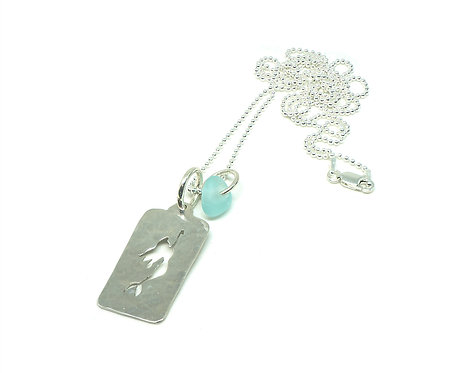 Mermaid Cutout Necklace with Bright Sea Foam Seaglass Necklace