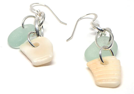 Sea Foam Beach Glass and Shell Earrings