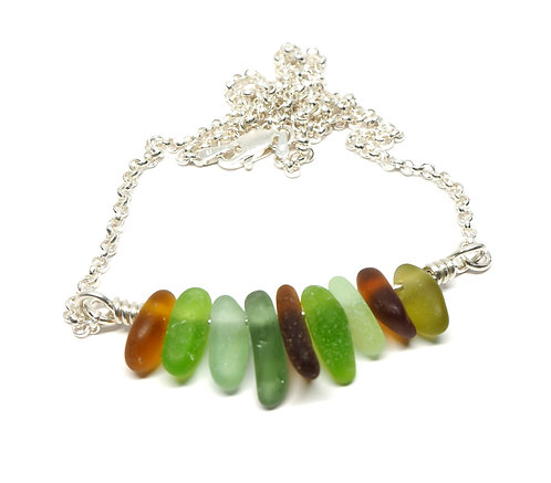 Amber Sea foam & Green Bar Necklace