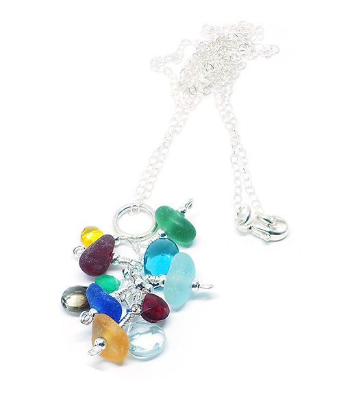 Multi Colored Glass and Semi Precious Stone Necklace