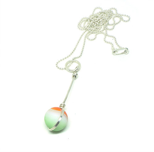 Orange, White and Green Marble Necklace