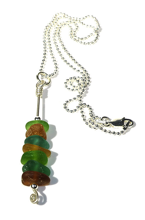 Green and brown stacked beach glass necklace