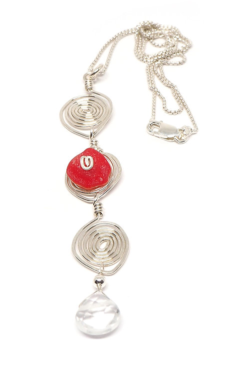 Rare Red Sea Glass and Sterling Swirl Necklace