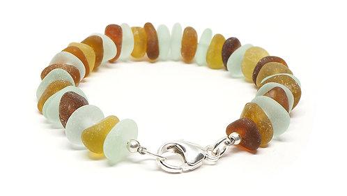 Amber Brown and Sea Foam Bracelet