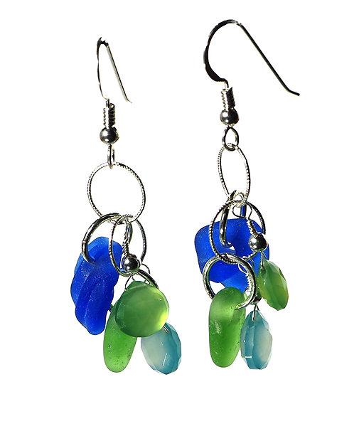 Cobalt, Green and Semi Precious Stone Earrings