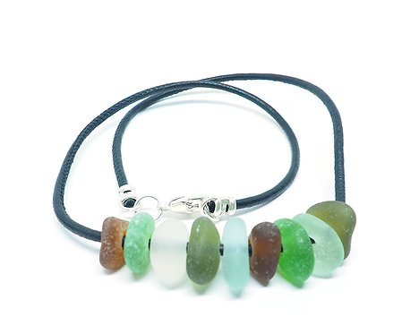 Brown, Green, White and Sea Foam Glass and Leather Necklace