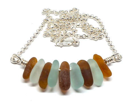 Amber, Brown and Seafoam Necklace