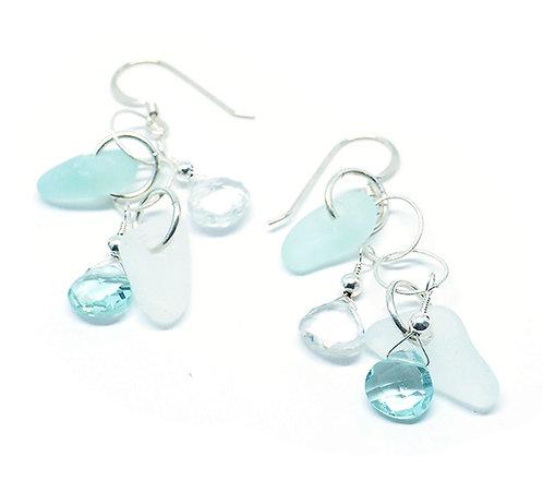 White and Sea Foam Semi-Precious Stone Earrings