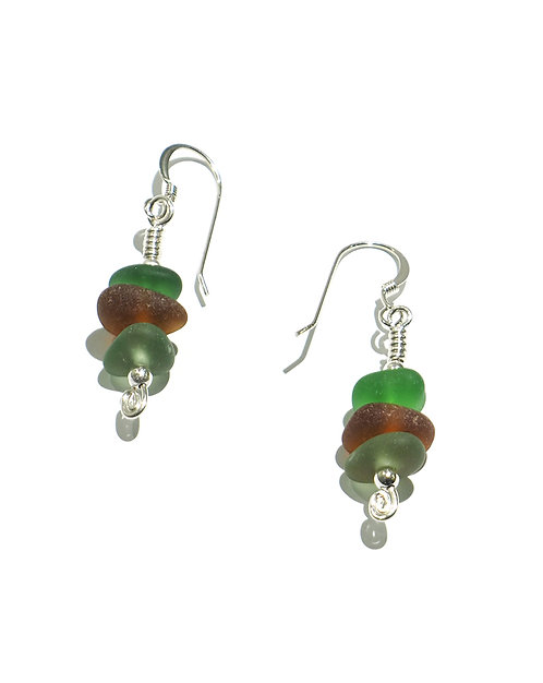 Green, Kahki and Brown Stacked Earrings