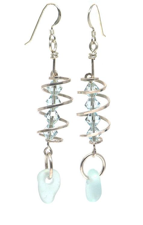 Sea Foam and Swarovski Spiral Earrings