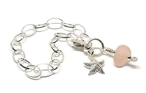 Rare Pink Sea Glass and Starfish Charm Bracelet
