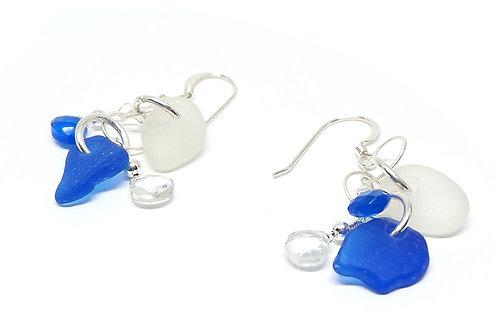 Cobalt and White Sea Glass and Semi Precious Stone Earrings