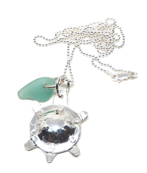 Sea Foam and Riveted Turtle Necklace