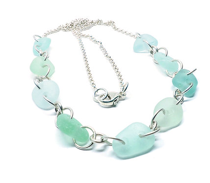 Shades of Sea Foam link necklace