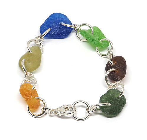Multi Colored Bracelet with Cobalt and Amber Seaglass