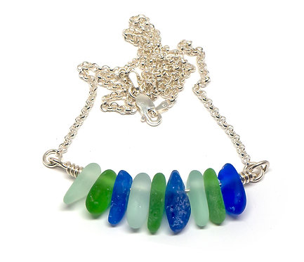 Cobalt, Sea Foam and Green Necklace